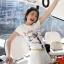 เสื้อยืด แขนสั้น สีขาวพอดีตัว สกีนรูปโอลีฟ น่ารัก thumbnail 4