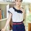 เสื้อแฟชั่นชีฟอง Size L สีขาว คอแต่ง แขนสั้นแต่ง 2 ชั้น กุ้นขอบดำ thumbnail 6