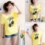เสื้อยืดสีเหลือง สกรีนลายน่ารัก ใส่ได้ทั้งแบบคอกลม หรือคอปาด สวยเปรี้ยว thumbnail 2