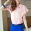 เสื้อเชิ๊ต คอปก size M สีชมพู แขนย้วย ตกแต่งช่วงปกและแขนเสื้อ thumbnail 6