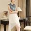 [พร้อมส่ง] ชุดเดรสตัวเสื้อผ้ายีนส์เนื้อนิ่มต่อด้วยกระโปรงชีฟองซับในหนาผ้าเนื้อดี สวยเหมือนแบบค่ะ A521 thumbnail 5