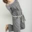 กางเกงเอี้ยมสีเทา สายเดี่ยว แต่งกระดุมและระบาย (พร้อมสายคาดเอว) thumbnail 1