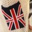 เสื้อกันหนาวไหมพรม สีขาว ลายตาข่าย กระเป๋าลายธงชาติ thumbnail 3