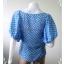 """jp2094-เสื้อแฟชั่น ชีฟอง สีฟ้าลายจุดขาว """"อก 32 นิ้ว"""" thumbnail 4"""