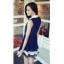 ชุดเดรสสาวทำงาน แขนกุด สีน้ำเงิน พร้อมผ้าผูกโบว์ในตัว จั๊มช่วงเอว thumbnail 2