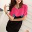 เสื้อแฟชั่น สีชมพูตัดต่อผ้าสีดำ ตัวยาวคลุมสะโพก เย็บย่นด้านข้าง thumbnail 5