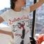เสื้อยืด แขนสั้น สีขาวพอดีตัว สกีนรูปโอลีฟ น่ารัก thumbnail 1