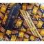 neck0027-เนคไทแบรนด์มือสอง Ermenegildo Zegna สีเหลือง-น้ำตาล-ดำ ลายกราฟิค thumbnail 3