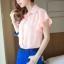 เสื้อเชิ๊ต คอปก size L สีชมพู แขนย้วย ตกแต่งช่วงปกและแขนเสื้อ thumbnail 4