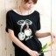 เสื้อยืดสีดำ สกรีนลายน่ารัก ใส่ได้ทั้งแบบคอกลม หรือคอปาด สวยเปรี้ยว thumbnail 4