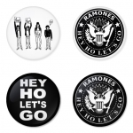 Ramones button badge 1.75 inch custom backside 4 type Pinback, Magnet, Mirror or Keychain. Get 4 in package [11]