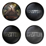 Led Zeppelin button badge 1.75 inch custom backside 4 type Pinback, Magnet, Mirror or Keychain. Get 4 in package [3]