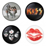 KISS button badge 1.75 inch custom backside 4 type Pinback, Magnet, Mirror or Keychain. Get 4 in package [2]