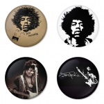Jimi Hendrix button badge 1.75 inch custom backside 4 type Pinback, Magnet, Mirror or Keychain. Get 4 in package [1]