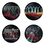 Judas Priest button badge 1.75 inch custom backside 4 type Pinback, Magnet, Mirror or Keychain. Get 4 in package [9]