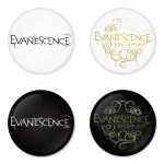 Evanescence button badge 1.75 inch custom backside 4 type Pinback, Magnet, Mirror or Keychain. Get 4 in package [10]