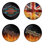 Judas Priest button badge 1.75 inch custom backside 4 type Pinback, Magnet, Mirror or Keychain. Get 4 in package [8]