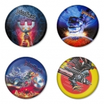 Judas Priest button badge 1.75 inch custom backside 4 type Pinback, Magnet, Mirror or Keychain. Get 4 in package [4]