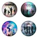 Coldplay button badge 1.75 inch custom backside 4 type Pinback, Magnet, Mirror or Keychain. Get 4 in package [10]