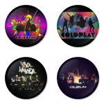 Coldplay button badge 1.75 inch custom backside 4 type Pinback, Magnet, Mirror or Keychain. Get 4 in package [14]