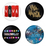 Coldplay button badge 1.75 inch custom backside 4 type Pinback, Magnet, Mirror or Keychain. Get 4 in package [11]