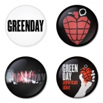 Greenday button badge 1.75 inch custom backside 4 type Pinback, Magnet, Mirror or Keychain. Get 4 in package [1]