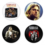 Nirvana button badge 1.75 inch custom backside 4 type Pinback, Magnet, Mirror or Keychain. Get 4 in package [9]