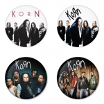 Korn button badge 1.75 inch custom backside 4 type Pinback, Magnet, Mirror or Keychain. Get 4 in package [1]