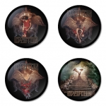 Led Zeppelin button badge 1.75 inch custom backside 4 type Pinback, Magnet, Mirror or Keychain. Get 4 in package [1]