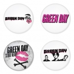Greenday button badge 1.75 inch custom backside 4 type Pinback, Magnet, Mirror or Keychain. Get 4 in package [2]
