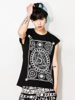 เสื้อยืดแขนกุดเกาหลี IKON แต่งพิมพ์ลายด้านหน้า มี2สี