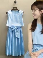 ชุดเดรสแขนกุดสีน้ำเงิน โอยอนจู W Two Worlds สไตล์2ชั้น