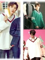 เสื้อแขนยาวแฟชั่น EXO คอV แต่งแถบแขนเสื้อ มี2สี