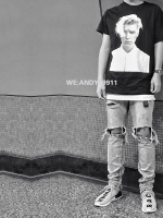 เสื้อยืดแขนสั้นสีดำ พิม์ลาย Justin Bieber