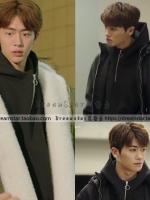เสื้อฮู้ดแฟชั่นแขนยาวสีดำ Park Hyung Sik ดีไซน์ซิบคอเสื้อ
