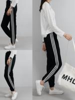กางเกงขายาวสีดำเกาหลี แต่งแถบเส้นด้านข้าง