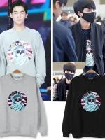 เสื้อแจ็คเก็ตแขนยาวเกาหลี IKON พิมพ์ลายด้านหน้า เก๋มาก มี4สี
