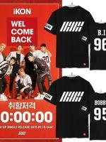 เสื้อยืดแขนสั้นเกาหลี IKON WELCOME BACK พิมพ์ลายหน้าหลัง มี2สี