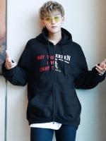 เสื้อฮู้ดแจ็คเก็ตสีดำเกาหลี EXO พิมพ์ลายด้านหน้า
