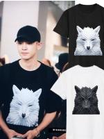 เสื้อยืดแขนสั้น EXO พิมพ์ลายหมาป่าด้านหน้า มี2สี