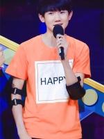 เสื้อยืดแขนสั้นสีส้ม TFBOYS พิมพ์ลาย HAPPY