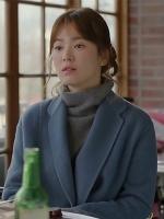 เสื้อโค้ทขนสัตว์แคชเมียร์ สีน้ำเงิน หมอคังโมยอน ซองเฮเคียว Descendants