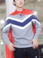เสื้อแจ็คเก็ตแขนยาว EXO สีเทา แต่งลายสลับสีรูปตัว V ดีไซน์เท่
