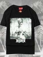 เสื้อยืดแขนสั้นสีดำ Justin Bieber พิมพ์ลายหน้าหลัง