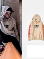 เสื้อฮู้ดแจ็คเก็ตสีเบจ Justin Bieber สกรีนแขนเสื้อสีแดง
