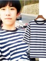 เสื้อยืดแขนห้าส่วนเกาหลี TFBOYS ทรงหลวม ลายขวาง