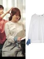 เสื้อแฟชั่นแขนยาวสีขาว โอยอนจู W Two Worlds แต่งผูกปลายแขน