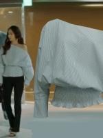 เสื้อแฟชั่นแขนยาวเกาหลี แต่งคอเฉียง ดีไซน์จั้มเอว