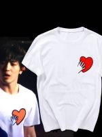 เสื้อยืดสีขาวเกาหลี CNBLUE พิมพ์ลายรูปหัวใจ