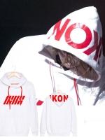 เสื้อฮู้ดแจ็คเก็ตแขนยาวสีขาว IKON BOBBY พิมพ์ลายอักษร